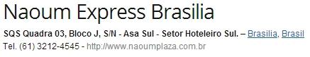 direccion hotel Naoum Express Brasilia